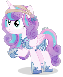 Size: 3565x4358 | Tagged: safe, artist:cirillaq, princess flurry heart, alicorn, pony, absurd resolution, armor, female, mare, older, older flurry heart, raised hoof, simple background, solo, transparent background, vector