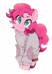 Size: 2480x3508 | Tagged: safe, artist:potetecyu_to, pinkie pie, earth pony, pony, clothes, cute, diapinkes, female, high res, looking at you, mare, ponk, simple background, smiling, solo, white background