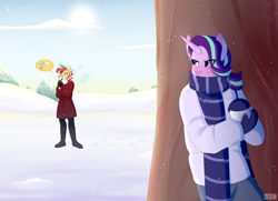 Size: 3000x2176 | Tagged: safe, artist:tsetsera, starlight glimmer, sunset shimmer, unicorn, anthro, blushing, boots, clothes, coat, duo, female, gloves, glowing horn, hiding, horn, levitation, magic, pants, question mark, scarf, shoes, snow, snowball, snowball fight, sweater, telekinesis, tree