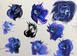 Size: 3338x2454 | Tagged: source needed, safe, artist:musical ray, nightmare moon, princess luna, bust, female, filly, woona, younger