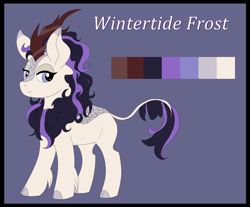 Size: 1280x1060 | Tagged: safe, artist:imperiialfrost, oc, oc only, oc:wintertide frost, kirin, antagonist, big ears, bio, cloven hooves, cute, emotionless, female, kirin oc, leonine tail, looking at you, mane, oc villain, reference sheet, simple background, solo