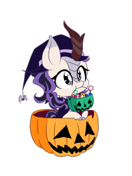 Size: 640x853 | Tagged: safe, artist:blurry-kun, oc, oc only, oc:wintertide frost, kirin, spider, age regression, big ears, candy, chibi, clothes, cloven hooves, commission, costume, cute, daaaaaaaaaaaw, female, filly, food, halloween, hat, holiday, jack-o-lantern, kirin oc, kirinbetes, mane, ocbetes, pumpkin, simple background, solo, transparent background, trick or treat, vector, witch costume, witch hat