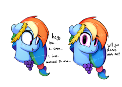 Size: 5834x4167 | Tagged: safe, artist:welost, derpibooru exclusive, rainbow dash, pegasus, pony, absurd resolution, accessories, alternate hairstyle, blushing, bronybait, cute, dashabetes, dialogue, female, floppy ears, jewelry, looking at you, necklace, nervous, simple background, smiling, solo, text, white background