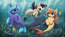Size: 1280x720 | Tagged: safe, artist:hitbass, oc, oc only, oc:eleane tih, oc:mayata, oc:sheron, fish, narwhal, seapony (g4), blue eyes, bubble, crepuscular rays, female, fin wings, fins, fish tail, flowing mane, flowing tail, high res, horn, looking at each other, male, notebook, open mouth, pencil, purple eyes, research, seaweed, species swap, sunlight, swimming, tail, trio, underwater, water, wings, yellow eyes