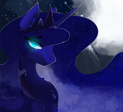 Size: 2959x2702 | Tagged: safe, artist:therealf1rebird, nightmare moon, alicorn, pony, ear fluff, fangs, female, horn, looking at you, mare, night, slit pupils, solo, stars, wings