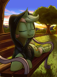 Size: 1494x2000 | Tagged: safe, artist:tsitra360, lyra heartstrings, pony, unicorn, fanfic:background pony, bench, clothes, commission, dig the swell hoodie, eyes closed, hoodie, lying down, prone, smiling, solo, sunset, underhoof
