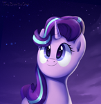 Size: 1240x1278 | Tagged: safe, artist:thebowtieone, starlight glimmer, pony, unicorn, bust, cute, female, glimmerbetes, mare, night, portrait, smiling, solo