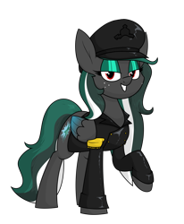 Size: 1400x1698 | Tagged: safe, artist:moonatik, oc, oc only, oc:messer, pegasus, pony, clothes, commission, epaulettes, eyeshadow, female, freckles, hat, jacket, leather jacket, makeup, mare, peaked cap, pegasus oc, simple background, solo, transparent background, wings