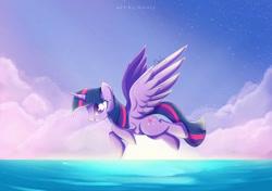 Size: 1024x720   Tagged: safe, artist:nnaly, twilight sparkle, alicorn, pony, cloud, female, flying, mare, ocean, signature, sky, smiling, solo, sun, twilight sparkle (alicorn)