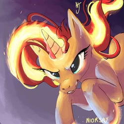 Size: 2000x2000   Tagged: safe, artist:niorsaj, sunset shimmer, pony, unicorn, angry, female, fiery shimmer, fire, mane of fire, mare, scary, serious, serious face, signature, solo, this will end in pain