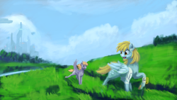 Size: 4550x2560 | Tagged: safe, artist:terrafomer, crackle pop, derpy hooves, pegasus, pony, absurd resolution, bandage, city, cityscape, cloud, derp, duo, female, field, filly, mare, signature, sky, stroll