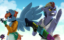 Size: 3840x2408 | Tagged: safe, artist:brainiac, derpibooru exclusive, bow hothoof, windy whistles, pegasus, anthro, implied applejack, implied rainbow dash, super soaker, watergun
