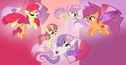 Size: 1024x527 | Tagged: safe, artist:velveagicsentryyt, apple bloom, scootaloo, sweetie belle, oc, oc:apple denki, oc:fries, oc:strawberlly, earth pony, pegasus, pony, unicorn, cutie mark crusaders, female, filly, offspring, older, parent:apple bloom, parent:button mash, parent:rumble, parent:scootaloo, parent:sweetie belle, parent:tender taps, parents:rumbloo, parents:sweetiemash, parents:tenderbloom