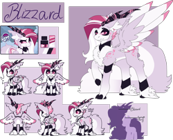 Size: 2968x2415 | Tagged: safe, artist:blizzard-queen, artist:pegalsus, oc, oc:blizzard queen, pegasus, cloven hooves, female, horns, mare, reference sheet, solo