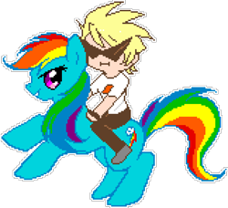 Size: 972x888 | Tagged: artist needed, safe, artist:diamondwolfq, rainbow dash, human, pegasus, pony, crossover, dirk strider, duo, female, homestuck, humans riding ponies, looking at you, male, manepxls, mare, pixel art, pxls.space, rearing, riding, side view, simple background, smiling, sunglasses, transparent background