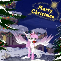 Size: 1024x1024   Tagged: safe, oc, oc only, pegasus, pony, christmas, christmas tree, holiday, marry christmas, solo, tree, wings