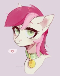 Size: 1194x1493   Tagged: safe, artist:naulla, roseluck, pony, bust, collar, cute, pet tag, pony pet, portrait, rosepet