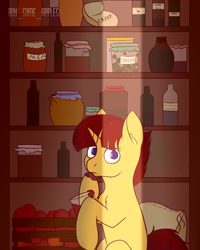 Size: 1600x2000   Tagged: safe, artist:buy_some_apples, oc, oc only, unicorn, cyrillic, food, honey, jam, pantry, surprised