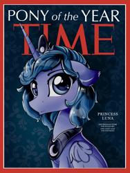 Size: 1626x2158   Tagged: safe, artist:eris azure, princess luna, alicorn, pony, blue background, blue mane, crown, jewelry, magazine cover, regalia, s1 luna, simple background, solo, time magazine