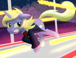 Size: 2361x1816 | Tagged: safe, artist:sixes&sevens, dinky hooves, unicorn, ascot, clothes, corridor, female, gritted teeth, jacket, laser, older, older dinky hooves, running, solo, solo female