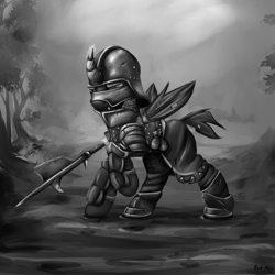 Size: 2000x2000   Tagged: safe, artist:richmay, oc, oc only, changeling, equestria at war mod, armor, chainmail, changeling oc, grayscale, halberd, helmet, landsknecht, male, medieval, monochrome, sallet, soldier, solo, weapon, wings