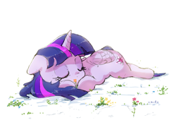Size: 2542x1900 | Tagged: safe, artist:nendo, twilight sparkle, alicorn, pony, cute, eyes closed, female, floppy ears, flower, lying down, mare, prone, simple background, sleeping, solo, twiabetes, twilight sparkle (alicorn), white background