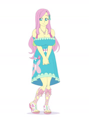 Size: 1157x1637 | Tagged: safe, artist:brother-tico, part of a set, fluttershy, equestria girls, equestria girls series, big breasts, breasts, busty fluttershy, clothes, dress, geode of fauna, hands together, magical geodes, sandals, smiling, solo