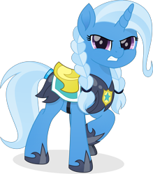 Size: 4852x5547   Tagged: safe, artist:pumpkinpieforlife, trixie, pony, unicorn, alternate hairstyle, armor, braid, female, gritted teeth, guardsmare, mare, movie accurate, pigtails, raised hoof, royal guard, royal guard armor, simple background, solo, transparent background, vector