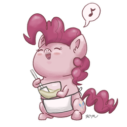 Size: 1280x1280 | Tagged: safe, artist:catscratchpaper, part of a set, pinkie pie, earth pony, pony, baking, beady eyes, chibi, cute, diapinkes, eyes closed, open mouth, simple background, singing, sitting, solo, transparent background