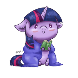 Size: 1280x1280 | Tagged: safe, artist:catscratchpaper, part of a set, twilight sparkle, pony, beady eyes, blanket, blushing, book, c:, chibi, cute, floppy ears, reading, simple background, sitting, smiling, solo, transparent background, twiabetes