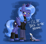 Size: 1740x1692 | Tagged: safe, artist:flutterthrash, princess luna, tiberius, alicorn, opossum, choker, dialogue, duo, female, fishnets, goth, leg warmers, mare, piercing, s1 luna, spiked choker, text