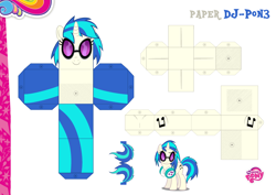 Size: 2048x1447 | Tagged: safe, artist:dashiesparkle edit, artist:grapefruitface1, dj pon-3, vinyl scratch, base used, craft, custom, papercraft, printable, solo