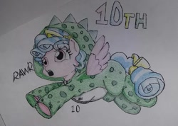 Size: 1080x768 | Tagged: safe, artist:allisonkawai2, cozy glow, pegasus, pony, clothes, costume, cozybetes, cute, eyelashes, female, filly, kigurumi, open mouth, rawr, solo, traditional art, underhoof