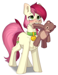 Size: 2192x2823 | Tagged: safe, artist:chibadeer, roseluck, earth pony, pony, behaving like a cat, behaving like a dog, chest fluff, collar, cute, cuteluck, fluffy, pet tag, pony pet, rosepet, teddy bear