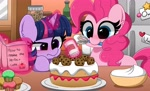 Size: 4096x2496 | Tagged: safe, artist:kittyrosie, pinkie pie, twilight sparkle, earth pony, pony, unicorn, cake, cookie, cute, diapinkes, digital art, duo, female, food, frown, high res, magic, mare, mouth hold, smiling, sugarcube corner, twiabetes