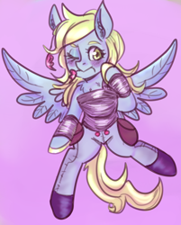 Size: 964x1199 | Tagged: safe, artist:mimiporcellini, derpy hooves, pegasus, pony, clothes, one eye closed, wink