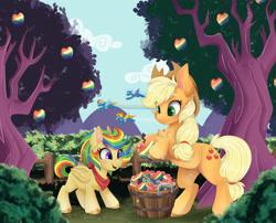 Size: 1920x1550 | Tagged: safe, artist:pvrii, applejack, rainbow dash, spitfire, oc, oc:zap spectrum, pegasus, pony, apple, appledash, female, filly, flying, food, lesbian, magical lesbian spawn, offspring, parent:applejack, parent:rainbow dash, parents:appledash, shipping, tree, zap apple