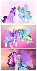 Size: 2126x4096 | Tagged: safe, artist:aaa-its-spook, rainbow dash, twilight sparkle, alicorn, pegasus, pony, the last problem, age progression, alternate hairstyle, backwards cutie mark, blushing, chest fluff, clothes, colored wings, coronation dress, crown, cutie mark, dress, ethereal mane, eyes closed, feather, female, heart, holding hooves, hoof shoes, horn, jewelry, large wings, lesbian, long horn, mare, multicolored hair, multicolored mane, multicolored tail, multicolored wings, nuzzling, older, older rainbow dash, older twilight, petals, peytral, princess twilight 2.0, rainbow power, regalia, second coronation dress, shipping, size difference, starry mane, sweater, twidash, twilight sparkle (alicorn), wings