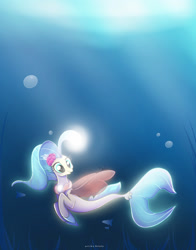 Size: 1280x1636 | Tagged: safe, artist:nnaly, princess skystar, fish, seapony (g4), my little pony: the movie, bioluminescent, blue eyes, bubble, crepuscular rays, dorsal fin, eyelashes, female, fin wings, fins, fish tail, flower, flower in hair, flowing mane, flowing tail, freckles, glow, jewelry, light, necklace, ocean, pearl necklace, seaquestria, seaweed, signature, smiling, solo, sunlight, swimming, tail, underwater, water, wings