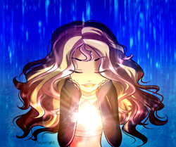 Size: 3000x2505 | Tagged: safe, artist:summer2002, sunset shimmer, equestria girls, equestria girls series, let it rain, spoiler:eqg series (season 2), eyes closed, glow, midriff, open mouth, rain, signature, smiling, solo, windswept hair