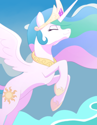Size: 640x823 | Tagged: safe, artist:ladyenfield, princess celestia, alicorn, pony, birthday gift, cloud, crown, ethereal mane, ethereal tail, eyes closed, female, flying, hoof shoes, jewelry, regalia, sky, smiling, solo, wings
