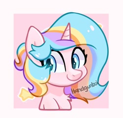 Size: 1082x1044 | Tagged: safe, artist:handgunboi, oc, oc only, oc:oofy colorful, unicorn, female, mare, simple background, solo