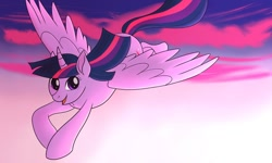 Size: 1280x768 | Tagged: safe, artist:ladyenfield, twilight sparkle, alicorn, pony, big ears, christmas gift, cloud, commission, evening, female, flying, looking at you, open mouth, sky, smiling, solo, twilight sparkle (alicorn)
