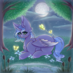 Size: 1500x1500 | Tagged: safe, princess luna, alicorn, butterfly, pony, cute, flower, moon, night, sky, solo, sparkles, tree, water