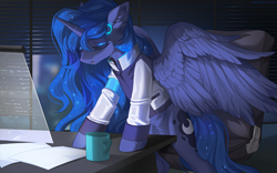 Size: 1596x998 | Tagged: safe, artist:margony, princess luna, alicorn, pony, art trade, clothes, crossover, detroit: become human, female, indoors, mare, night, office, open mouth, video game crossover