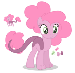 Size: 1280x1244 | Tagged: safe, artist:magicuniclaws, oc, hybrid, female, interspecies offspring, offspring, parent:discord, parent:pinkie pie, parents:discopie, simple background, solo, transparent background