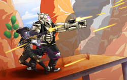 Size: 2200x1400 | Tagged: safe, artist:redahfuhrerking, fhtng th§ ¿nsp§kbl, oleander, demon, unicorn, anthro, them's fightin' herds, ashe (overwatch), belt, bob (overwatch), boots, clothes, commission, cowboy boots, cowboy hat, crossover, desert, female, fence, fingerless gloves, gloves, gun, hat, jeans, male, open mouth, overwatch, pants, rifle, shirt, shoes, vest, video game crossover, weapon