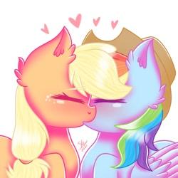Size: 768x768 | Tagged: safe, artist:galaxy swirl, applejack, rainbow dash, earth pony, pegasus, pony, appledash, female, lesbian, shipping