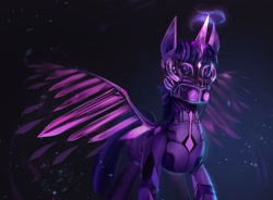 Size: 2048x1510 | Tagged: safe, artist:bananitryi, twilight sparkle, alicorn, pony, robot, robot pony, solo, twibot, twilight sparkle (alicorn)