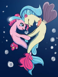 Size: 2121x2828 | Tagged: safe, artist:saphire-dragon42, pinkie pie, princess skystar, earth pony, seapony (g4), my little pony: the movie, blue eyes, bubble, eyes closed, female, fin wings, fins, fish tail, flower, flower in hair, flowing mane, flowing tail, freckles, holding hooves, jewelry, lesbian, looking at each other, necklace, nuzzling, ocean, open mouth, pearl necklace, seaponified, seapony pinkie pie, shipping, simple background, skypie, smiling, species swap, tail, underwater, water, wings